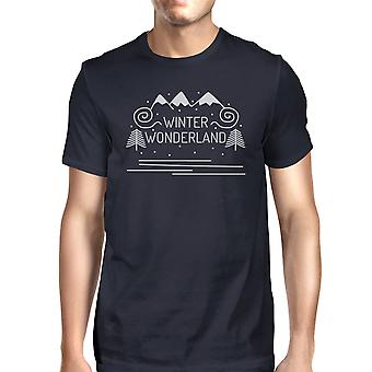 Winter Wonderland Mens Navy Crewneck T-Shirt For Christmas Gifts