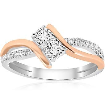 5 / 8CT pour toujours nous 2 Stone Diamond Ring 14K White & or Rose