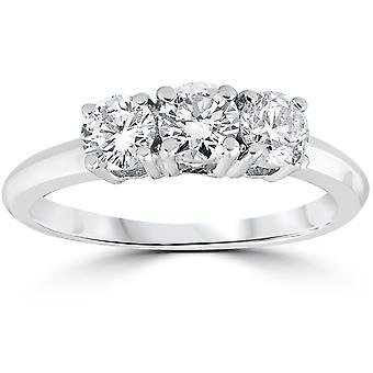 1 carato 3-pietra diamante anello di fidanzamento solitario tondo taglio 14k White Gold
