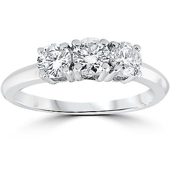 1 Carat 3-Stone Diamond Engagement Ring Solitaire Round Cut 14k White Gold