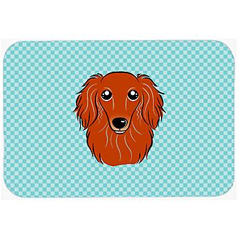 Checkerboard Blue Longhair Red Dachshund Mouse Pad, Hot Pad or Trivet