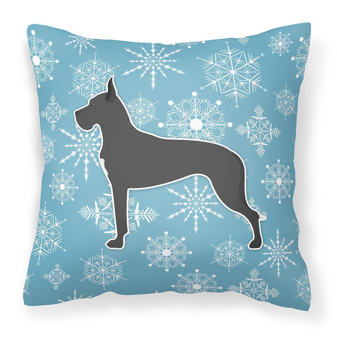 Flocon de neige hiver Dogue tissu oreiller décoratif