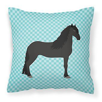 Friesian caballo azul cheque tejido decorativo de la almohadilla