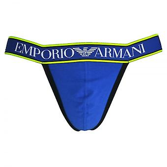 Emporio Armani Magnum Style Experience Push Up Jockstrap, Electric Blue With Black / Yellow Trim, Small