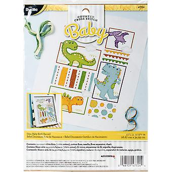 Dino Baby Birth Record Counted Cross Stitch Kit-10.5