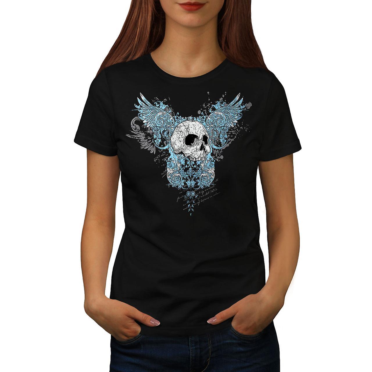 Flügel Gothic Biker Skull Frauen T-shirt schwarz | Wellcoda