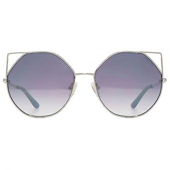Guess Metal Peaked Round Sunglasses In Shiny Light Nickeltin Blue Mirror