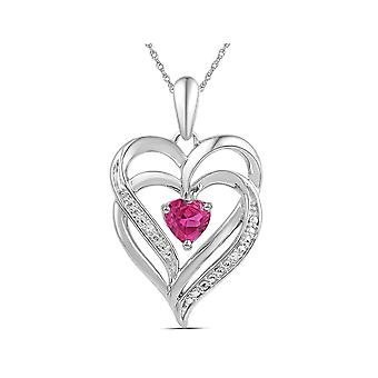 Lab Created Pink Sapphire 3/4 Carat (ctw) Double Heart Pendant Necklace in Sterling Silver