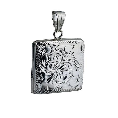 Silver 22mm engraved flat square Locket
