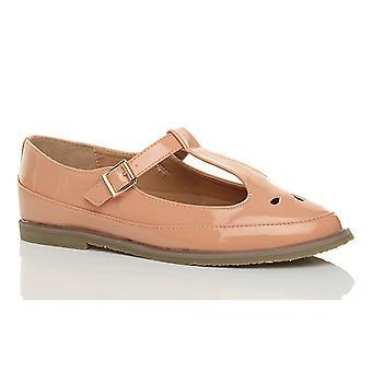 Ajvani mujeres hebilla de barra plana corte zapatos de mary jane retro brogue