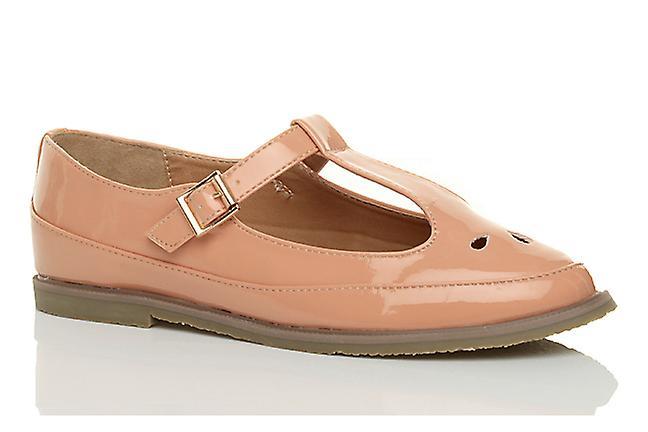 Ajvani womens flat t-bar buckle cut out retro brogue mary jane shoes