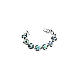 Woman hearts green blue Abalone shell bracelet