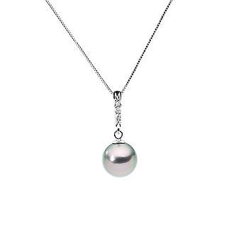 Naszyjnik złoty biały 375/1000, diamenty i Tahitian perła wisiorek