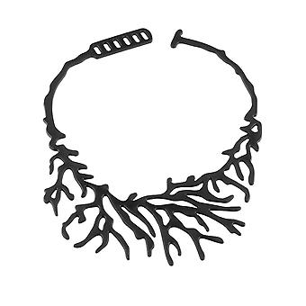 Coral in Silicone black effect tattoo necklace