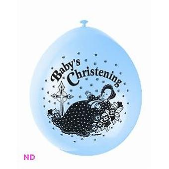 "Balloons 'BABY CHRISTENING' 9"" Latex Balloons Blue (10)"