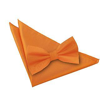 Celosia Orange Solid Check Bow Tie & Pocket Square Set