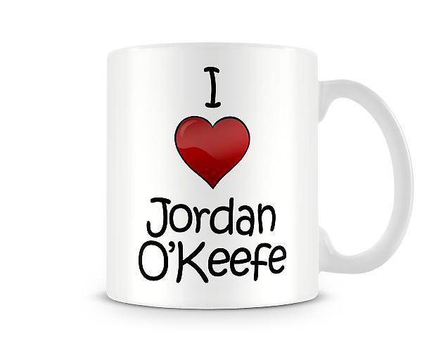 Ik hou van Jordan O'Keefe bedrukte mok