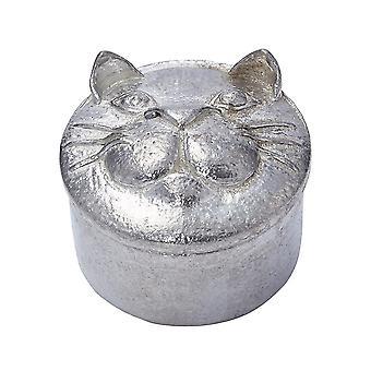 Cast Pewter Cat Trinket Box