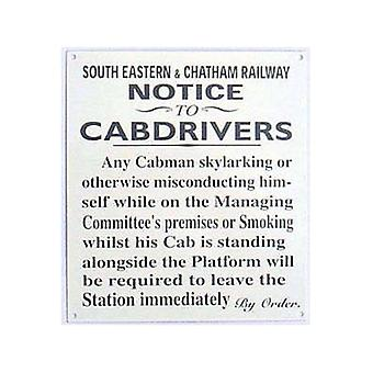 South Eastern & Chatham Railway Cabdrivers Steel Wall Sign