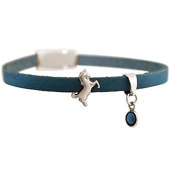 GEMSHINE blaues Leder Armband mit Einhorn und blauem Saphir. Mädchen Geschenk vergoldet, rose oder Silber. Edles Etui. Hergestellt in München, Deutschland.