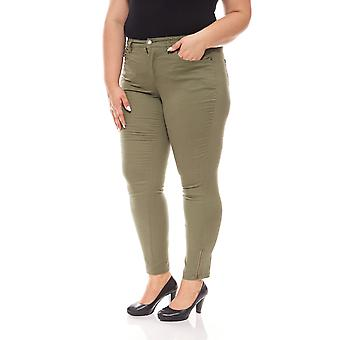 sheego ladies casual stretch trousers large long size khaki