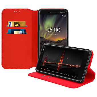 Slim Case, Classic Edition stand case with card slot for Nokia 6.1 - Red