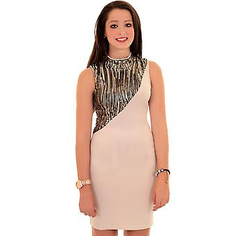 Ladies Turtle Neck Sequin Bodycon Contrast Evening Party Slim Fitting Women's Dress