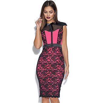 Vestido de rosa Midi Hunter Tempest com detalhe espartilho