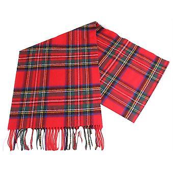 Locharron of Scotland Stewart Royal Modern Large Lambwool Scarf - Red/Navy/Yellow