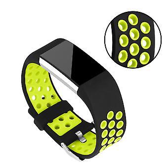 Silikonowy pasek aby Fitbit Charge 2-zielony/czarny