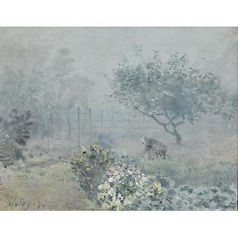 Foggy Morning,Voisins,Alfred Sisley,50.5x65cm