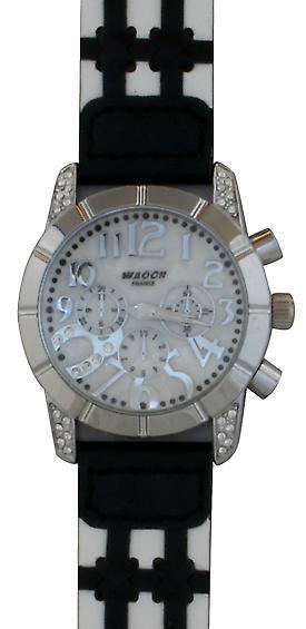 Waooh - muestra negro de Waooh 03873 A pulsera cuero y blanco 2