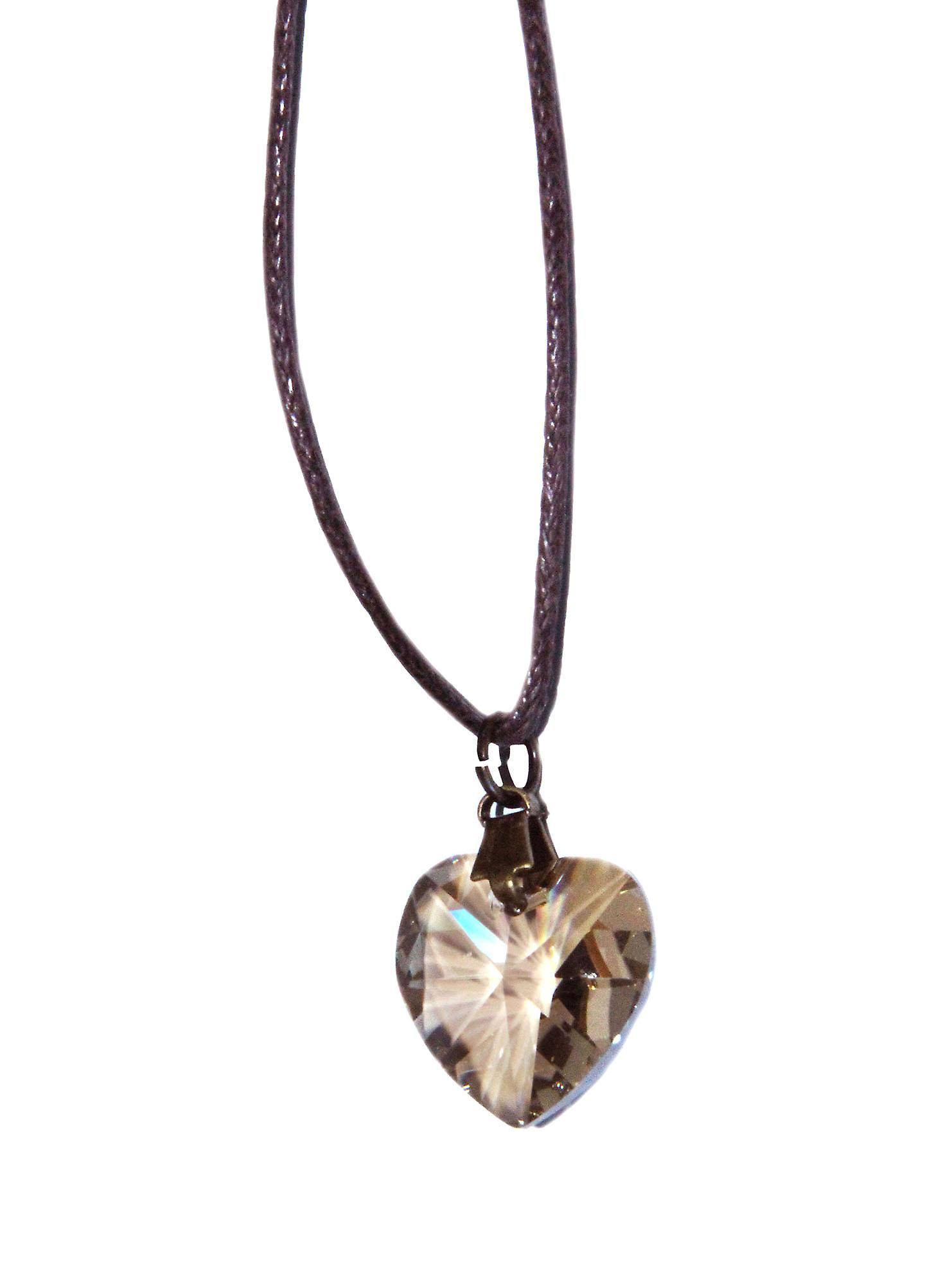 Waooh - Bijoux - Swarovski / Pendentif coeur beige avec cordon ciré