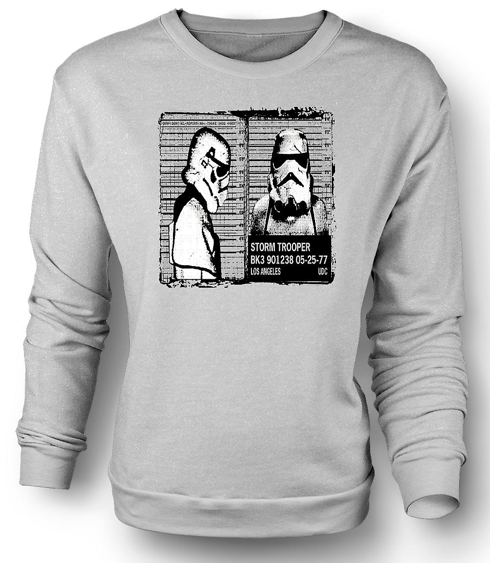 Mens Sweatshirt Storm Trooper Mug Shot - Funny