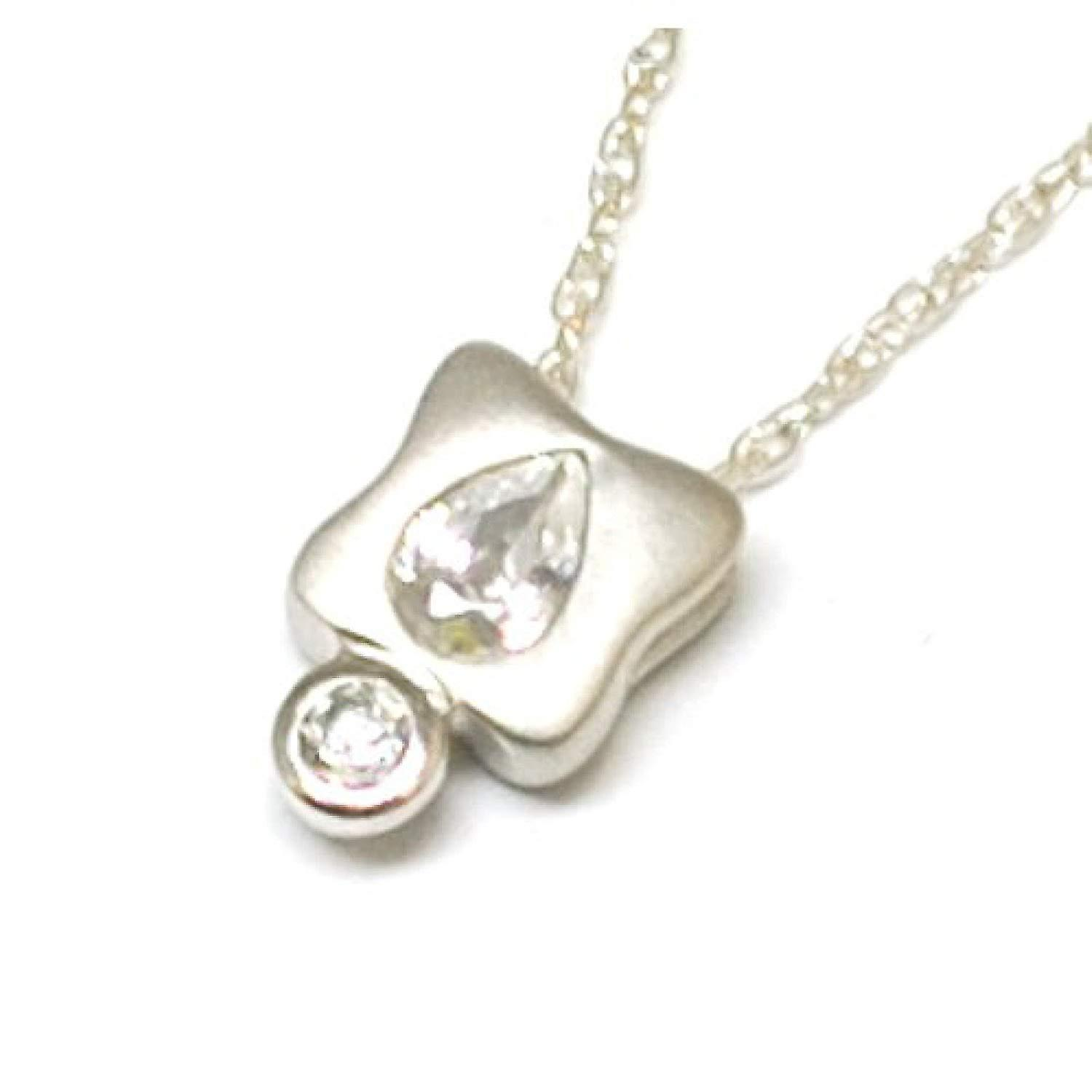 Toc Sterling Silver Matte Pendant with Pear Shaped Cz Pendant