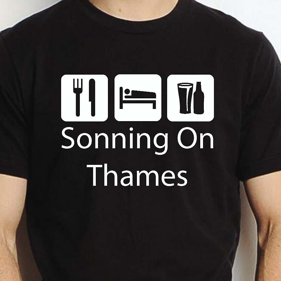 Eat Sleep Drink Sonningonthames Black Hand Printed T shirt Sonningonthames Town