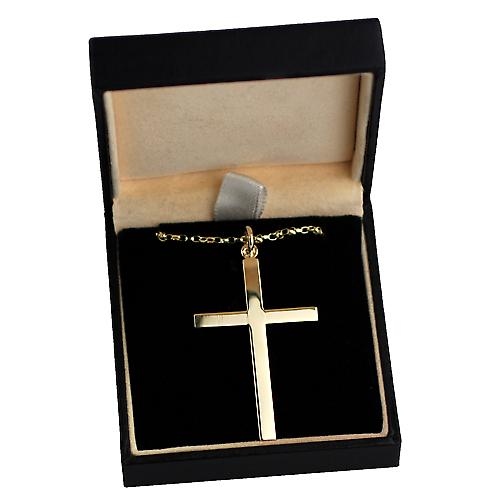 9ct Gold 45x29mm engine turned line border flat latin Cross with a belcher Chain 16 inches Only Suitable for Children