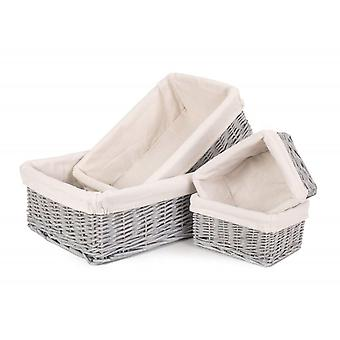 Set of 4 Grey Wash Wicker Tray With Lining