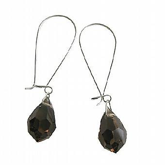 Czech Dark Smoked Topaz Crystal Teardrop Sterling Silver Hoop Earrings