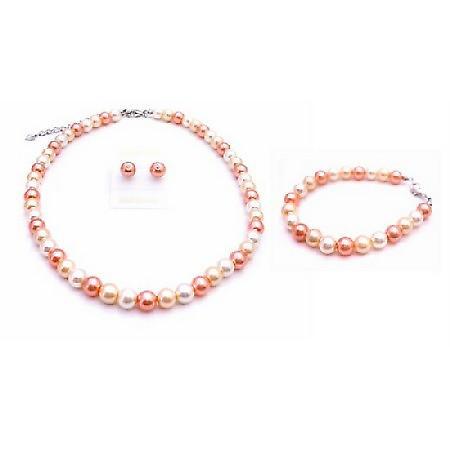 Never Before Orange Pearls w/ Peach & White Complete Handmade Jewelry