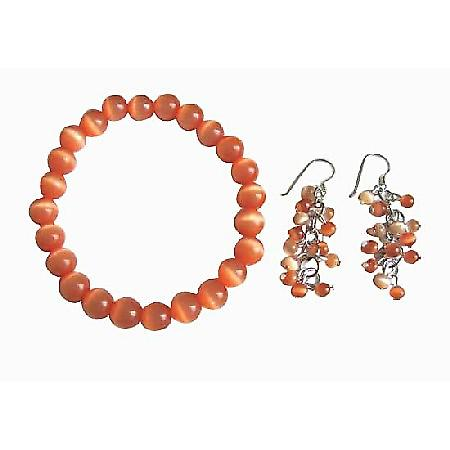 8mm Cat Eye Citrine Orange Pure Cat Eye Stretchable Bracelet Earrings