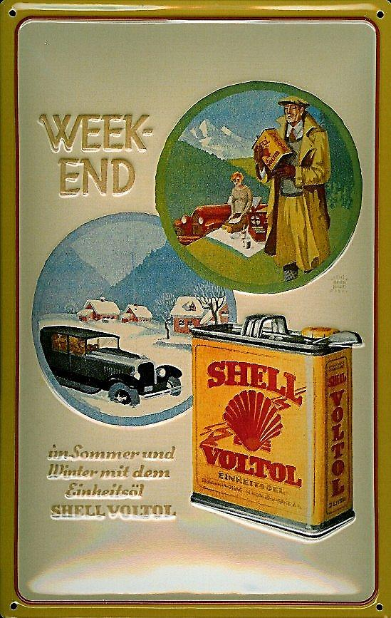 Shell Petrol Weekend embossed steel sign   (hi 3020)