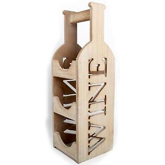 Wooden 3 Bottle Wine Holder With Handle Chic Shabby Effect Wine Stand