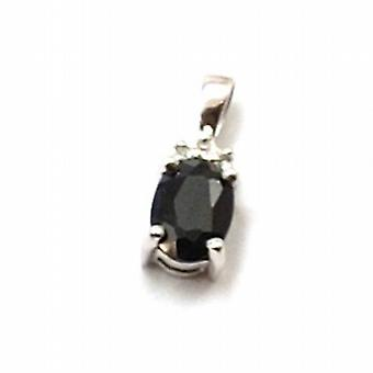 Toc 9ct White Gold Mini Sapphire and Diamond Pendant
