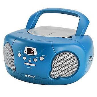 Groov-e Boombox Portable CD Player mit Radio/Aux In/Headphone Blue (GVPS733BE)