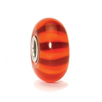 Trollbeads Red Stripe Silver & Glass Bead TGLBE-10320 (RETIRED)