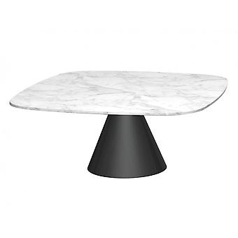 Gillmore Space Square Marble Coffee Table With Conical Black Base
