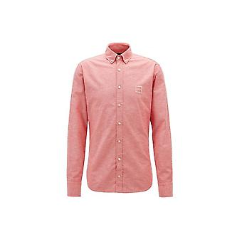 Hugo Boss Casual Men's Slim Fit Pink/Red Mabsoot Long Sleeved Shirt