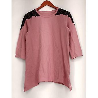 Denim & Co. top 3/4 mouw Scoop hals trapeze roze A267911