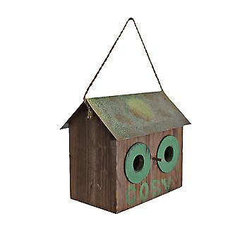 Rustic Finish 'Cosy' Wooden Bird House with Metal Roof & Rope Hanger